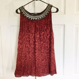 Alfani red lurex beaded neckline blouse 2X